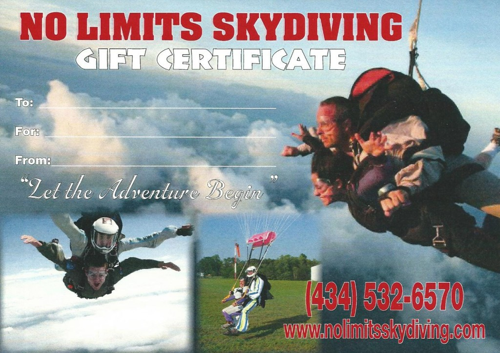 Skydiving Gift Certificate in Virginia