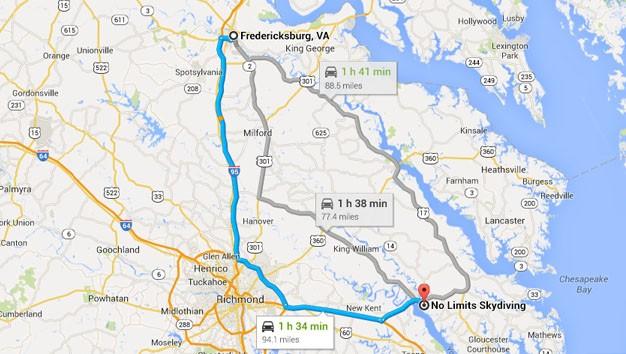 No Limits Skydiving near Fredericksburg VA