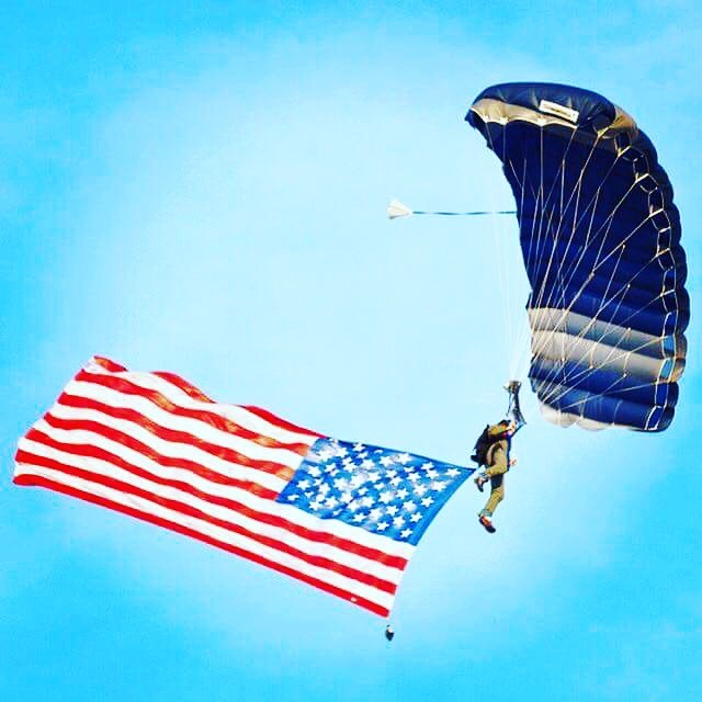 Skydiving with American Flag